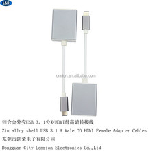Zinc Alloy shell USB3.1 to HDMI adapter, USB 3.1 cable, PACKING: OEM