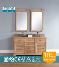 "60"" Single SinkSolid Wood Bathroom Vanity, With Marble"