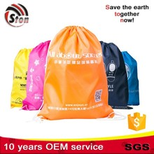 drawstring Recycled foldable polyester nylon shopping bag good for promotional and advertising
