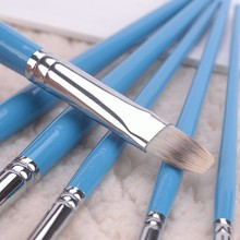 [2015 New Design ] Nylon Art Canvas Painting Brush Set Short Handle Multi-color Synthetic Hair