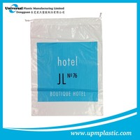 One time use disposable degradable hotel plastic PE drawtape laundry dry cleaning bag