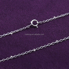 fashion simple long thin silver chain necklace 925 sterling siver DIY chain