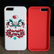 China wholesale Newest Fashion Double color funny color poker face design PC and silicone mobile phone cover