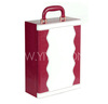 Red and White Leather Wine Carrier