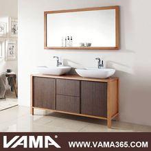 Red Oak Floor Mounted Modern Double Sink Bathroom Vanity Storage