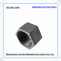 Malleable cast iron end cap for water pipe, Galvanized pipe fitting