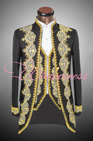 Retro men blazer suit terno European and American court dress suit set(jacket+pant) Opera men costumes