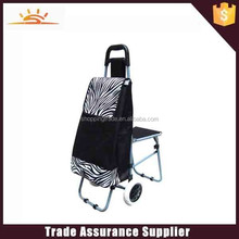 2015 hot sale customized trolley shopping bag with chair