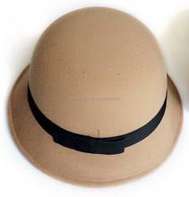 New Vintage Women Faux Wool felt Bowler Fedora Hats Floppy Cloche Cap