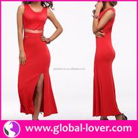 Hot style red O neck sleeveless side slit night dress models