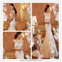 Latest Bridal Wedding Gowns Mermaid Sheer Crew Net/Tulle Wedding Dresses Imported From China