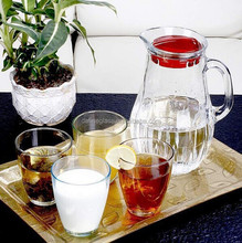 clear glass trumbler sets and glass pitcher with handle for cold water