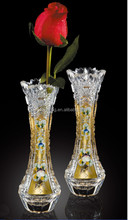 golden color lead crystal glass vases for home decoration