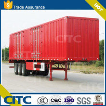 China red painted 30 ton to 60 ton capacity 3 axles cargo semi trailer / 40ft high flatbed dry van type sei trailer for sale