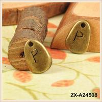 Vintage Fashionable Purse Charms Pendant Irregular Alphabet Initia P Cheap Pendants For Jewelry Making