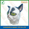X-MERRY White Skin Yellow Eyes Scary Cat Ainimal Mask Realistic Latex Mask Fancy Dress Party Decoration