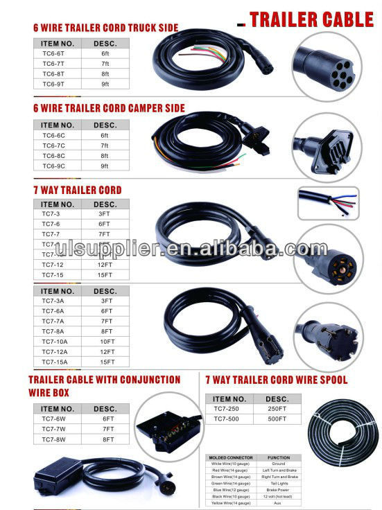 S80406 Trailer Rv 12 Foot Car Cord Wire Harness Tow Light Cable 7 ...