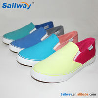 Slip on plain canvas ladies shoes with all color available