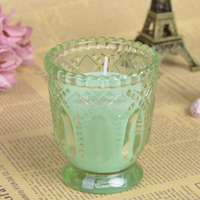 Traditional Thick and Strong Glass Cup with beautiful Design Candle