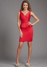 formal red deep v neck knee length short cocktail dresses 2011