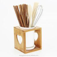 2014 ceramic chopsticks holder with bamboo stand