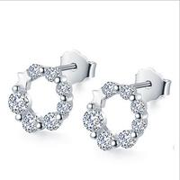 925 sterling silver hoop earring jewelry cubic zircon earring made in korea