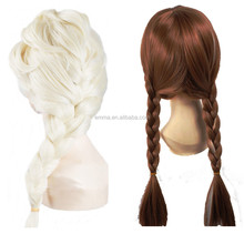 fashion popular long wig high quality cute frezon cosplay elsa anna wigs for party W8021