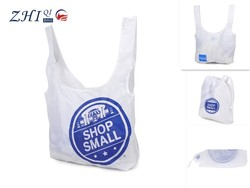 ZQ-J-034 Dongguan Nylon factory outlet BSCI cheap pocket foldable promotional drawstring shopping bag