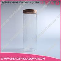 1200ml big and high glass jars with cork/hermetic glass storage jars/glass jar with tap