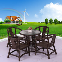 Leisure burget garden outdoor rattan coffee glass table and stools with cusion