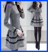 2015 Fall Women Party Sexy Slim long sleeve Casual dress ball gown woolen cloth