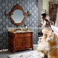 venta al por mayor de Foshan mueble lavabo con espejo de luz roja de madera rosa (DRK-D6001)