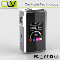 carbon fiber 18650 2200mAh 1.77inch screen SMY60 60W no flame e-cigarette cartridge