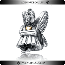 Antique 925 Sterling Silver Angel Bead with Wings and Golden Heart