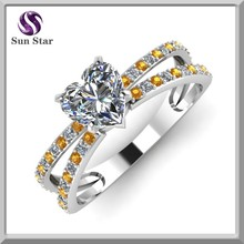 Hechos a mano del corazón diamante amarillo compromiso de zafiro 925 anillo de plata esterlina