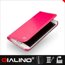 QIALINO Unique Quality Assured Customized Logo Printed Mobile Phone Leather Case For Samsung For Galaxy S6