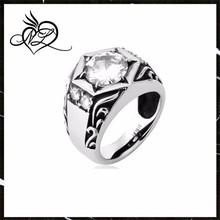 Cool Stainless Steel Men's Ring CZ Diamond Ring China Manufacturer