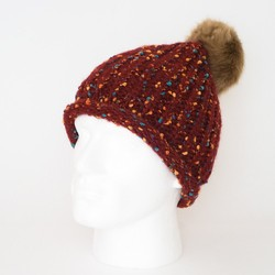 New Winter Colorful Dots Rib Knitted Beanie Fur Pom Pom Hat