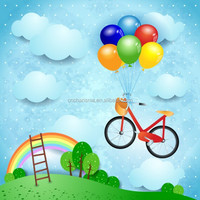 Bicycle and rainbow Kids Stickers wall decals for home decoration