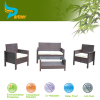Outdoor Patio Rattan/Wicker Furniture 4 Piece All Weather Arab Couch Set for Garden