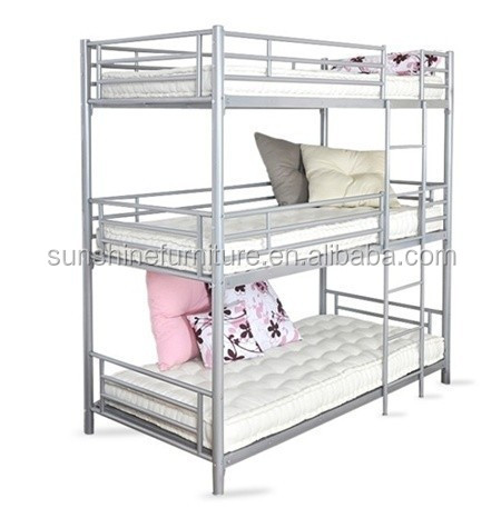 Wholesale modern bedroom furniture 3 tier triple metal for 3 bed bunk beds for sale