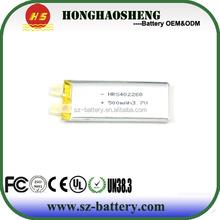china factory wholesale price 402260 rechargeable lithium 3.7v 500mah lipo battery/li-polymer battery 3.7v