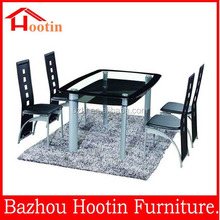 2015 modern glass top square dining table with 4 leather chairs for dining room / office F342