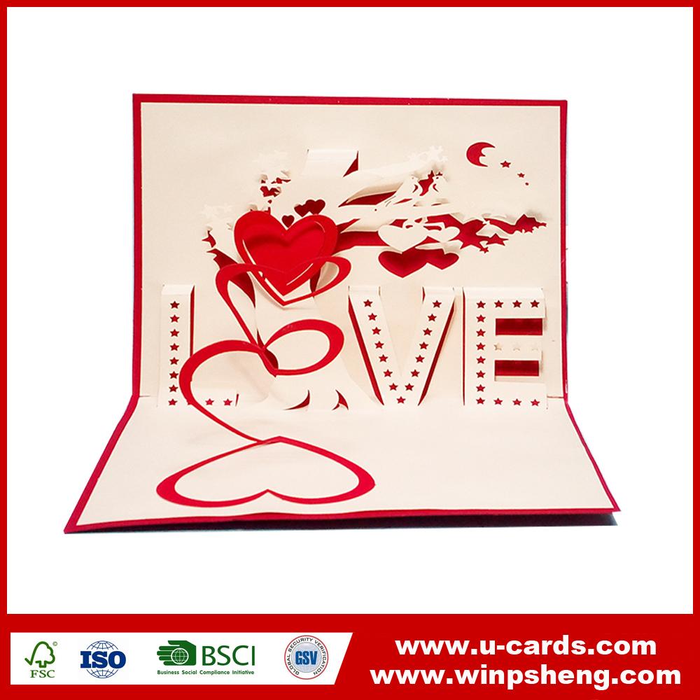 Custom Heart Shape Wedding Invitation Laser Cut Pop Up 3d Card - Buy ...