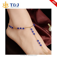 New Arrivals Women & Girls Fashionable Anklet with Toe Ring Glass Beads Anklet