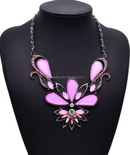 Lastest Design Pink and Blue Acrylic Beads Big Butterfly Pendant Statement Necklace