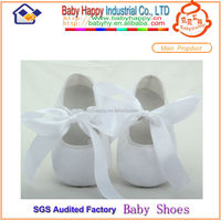 MOQ 30 baby christening shoes white baby ballet shoes