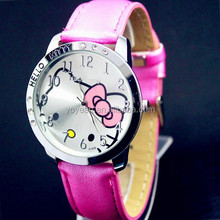 YX6027 Wholesale Cheap Leather Hello Kitty Wrist Watches