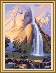 40*50cm handmade waterfall landscape oil painting by number