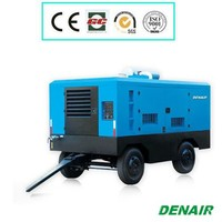 Diesel power portable double screw air compressor